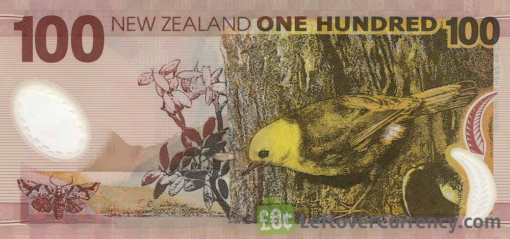 100 New Zealand Dollars banknote series 1999 reverse accepted for exchange