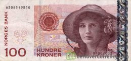 100 Norwegian Kroner banknote (Kirsten Flagstad) obverse accepted for exchange