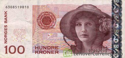 100 Norwegian Kroner banknote (Kirsten Flagstad) obverse accepted for exchange