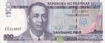 100 Philippine Peso banknote - Manuel Roxas obverse accepted for exchange