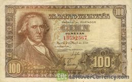 100 Spanish Pesetas banknote - Francisco Bayeu obverse accepted for exchange