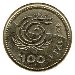 100 Spanish pesetas coin obverse