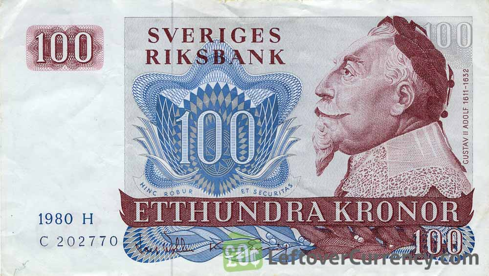 100 Swedish Kronor banknote - King Gustav II obverse accepted for exchange