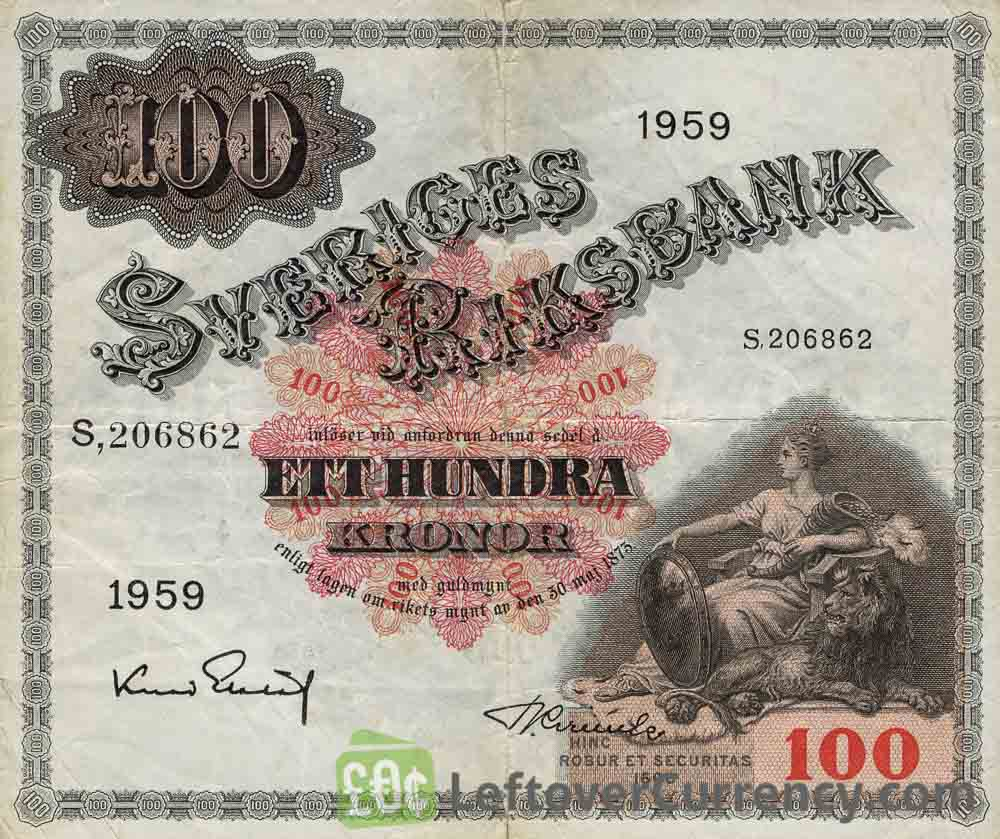100 Swedish Kronor banknote - Svea obverse accepted for exchange