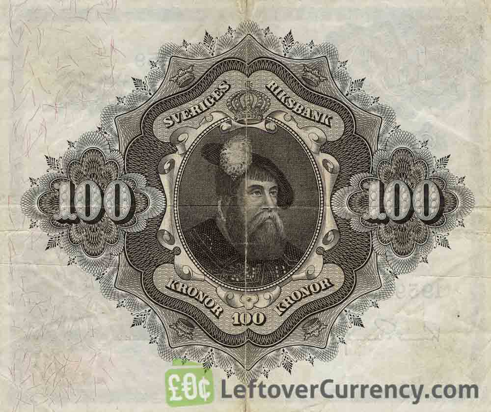 100 Swedish Kronor banknote - Svea reverse accepted for exchange