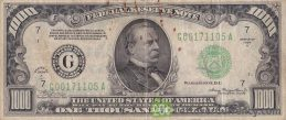 1000 American Dollars banknote obverse accepted for exchange