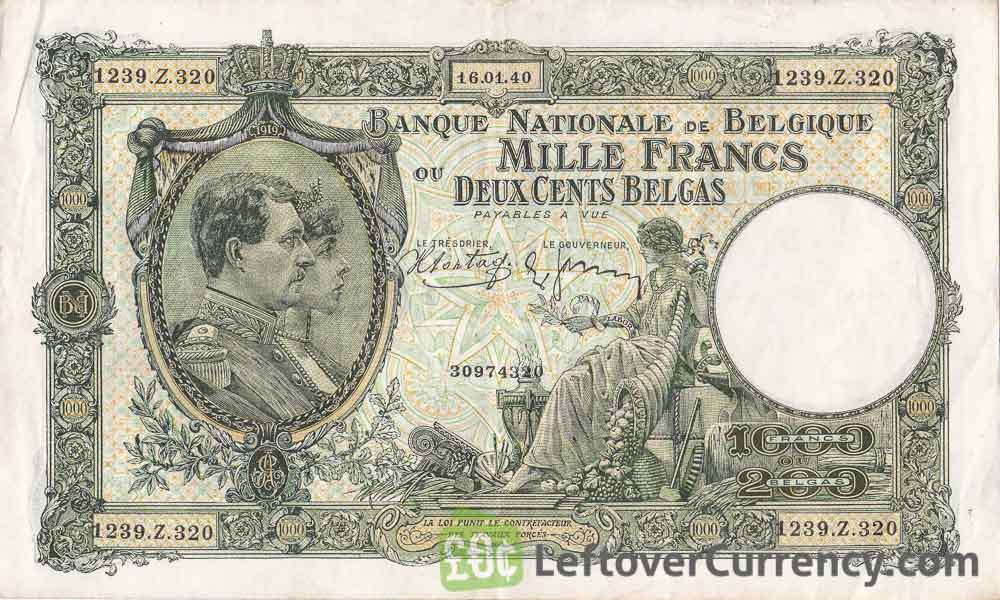 1000 Belgian Francs (200 Belgas) banknote - Série Nationale obverse accepted for exchange