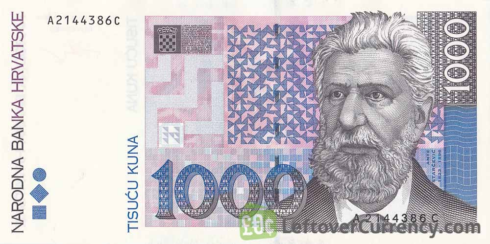 1000 Croatian Kuna banknote (Ante Starcevic) obverse accepted for exchange