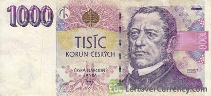 1000 Czech Koruna banknote series 1996 obverse accepted for exchange