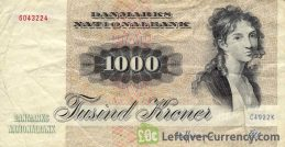 1000 Danish Kroner banknote - Thomasine Christine Gyllembourg-Ehrensvard obverse accepted for exchange