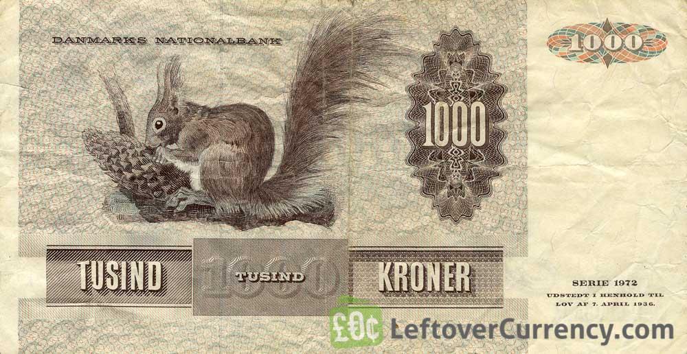 1000 Danish Kroner banknote - Thomasine Christine Gyllembourg-Ehrensvard reverse accepted for exchange