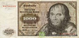 1000 Deutsche Marks banknote - Johannes Schoner obverse accepted for exchange
