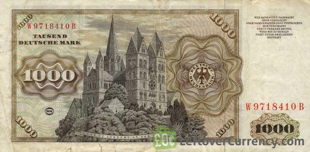 1000 Deutsche Marks banknote - Johannes Schoner reverse accepted for exchange