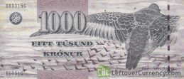 1000 Faroese Kronur banknote (Black-grey sandpiper's wing) obverse accepted for exchange
