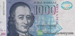 1000 Finnish Markkaa banknote (Anders Chydenius) obverse accepted for exchange