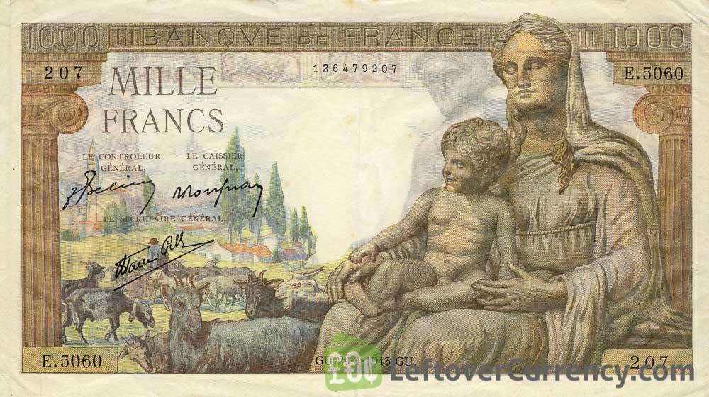 1000 French Francs banknote - Déesse Déméter obverse accepted for exchange