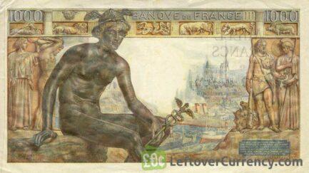 1000 French Francs banknote - Déesse Déméter reverse accepted for exchange