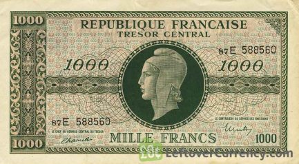 1000 French Francs banknote - Tresor Central type Marianne obverse accepted for exchange