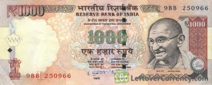 1000 Indian rupees banknote Gandhi obverse