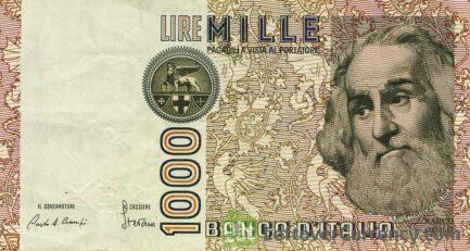 1000 Italian lire banknote Marco Polo obverse