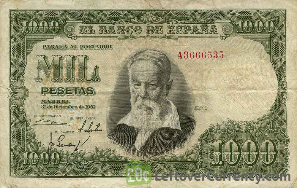 1000 Spanish Pesetas banknote - Joaquin Sorolla obverse accepted for exchange