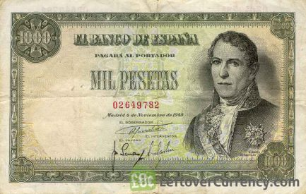 1000 Spanish Pesetas banknote - Ramon de Santillan obvers accepted for exchange