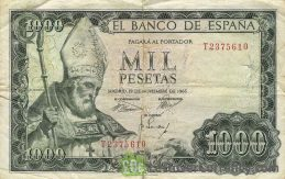 1000 Spanish Pesetas banknote - San Isidoro obverse accepted for exchange