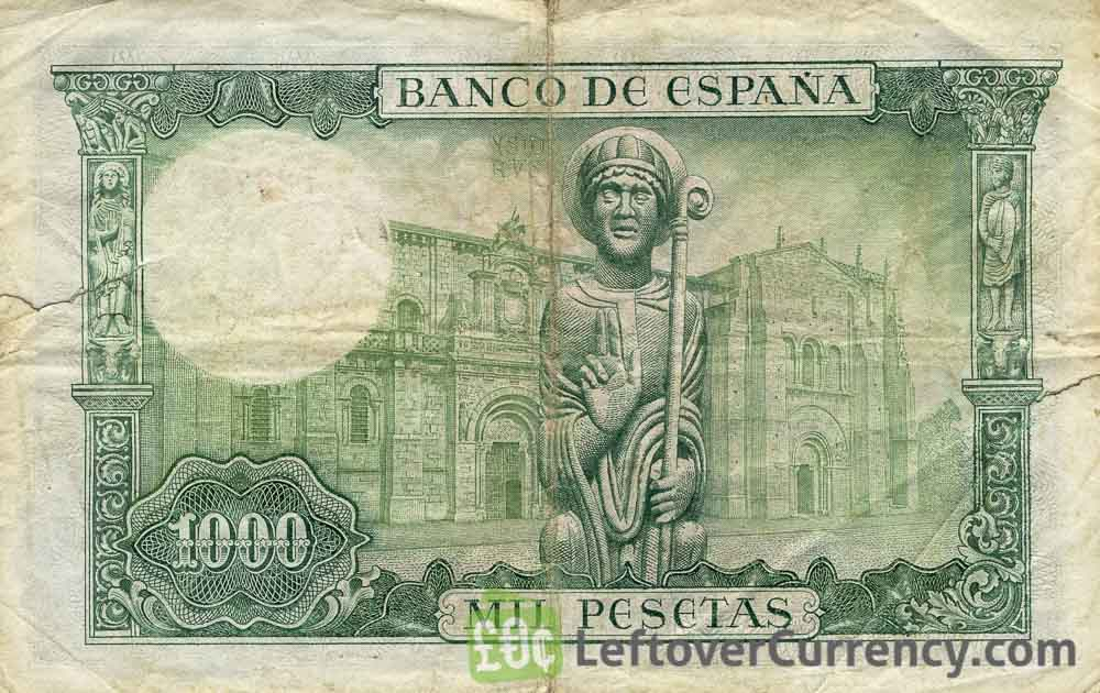 1000 Spanish Pesetas banknote - San Isidoro reverse accepted for exchange