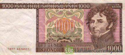 1000 Swedish Kronor banknote - King Carl XIV obverse accepted for exchange
