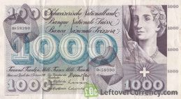 1000 Swiss Francs banknote - 5th Series obverse accepted for exchange