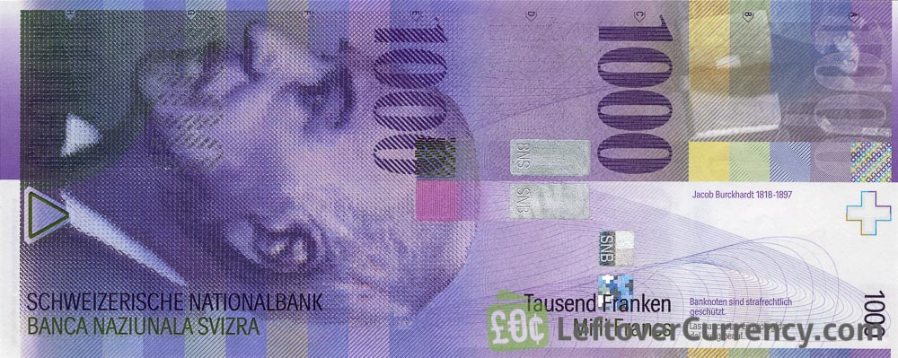 1000 Swiss Francs banknote - Jacob Burckhardt - 8th Series obverse accepted for exchange