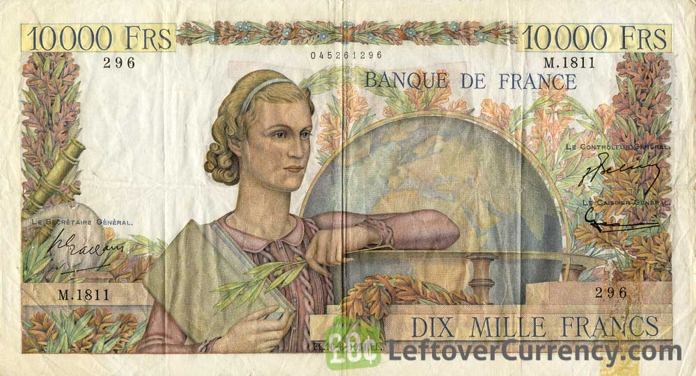 10000 French Francs banknote - Génie Français obverse accepted for exchange