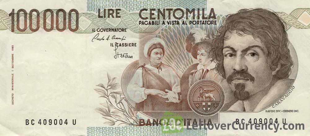 100000 Italian lire banknote Caravaggio 1983 obverse