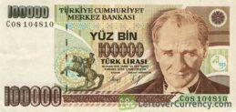 yüz bin 100000 old Turkish lira banknote