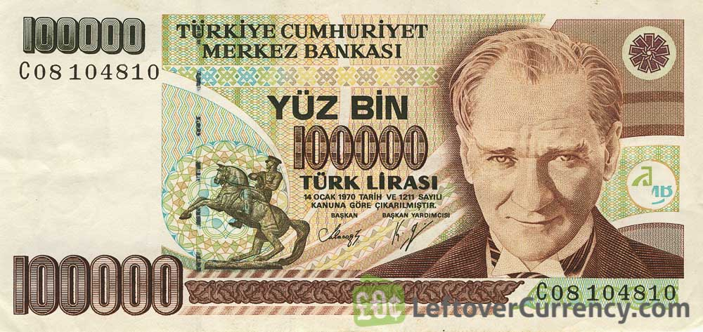 yüz bin 100000 old Turkish lira banknote