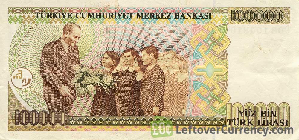 100000 old Turkish Lira banknote Ataturk