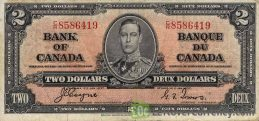 2 Canadian Dollars banknote series 1937 obverse accepted for exchange