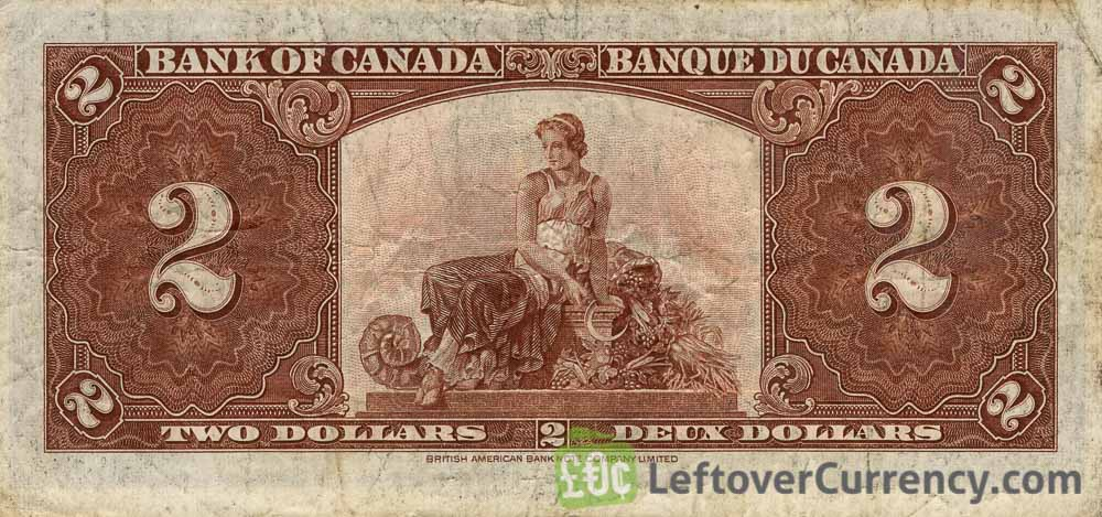2 Canadian Dollars banknote series 1937 reverse accepted for exchange