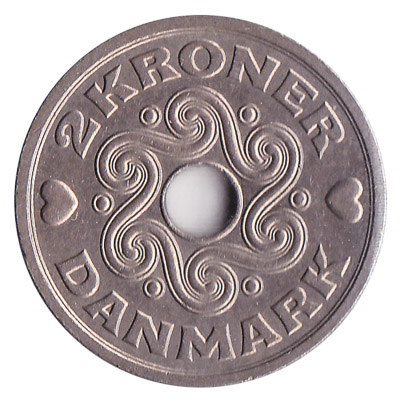 2 Danish kroner coin obverse accepted for exchange
