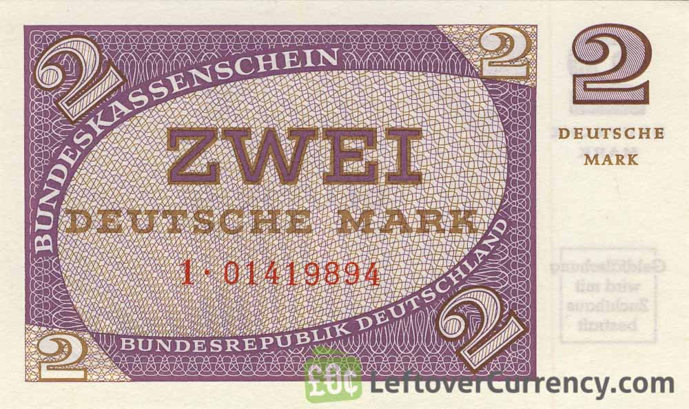 2 Deutsche Marks banknote - Bundeskassenschein obverse accepted for exchange