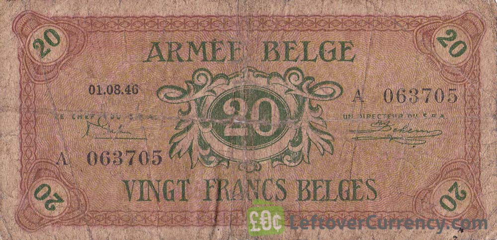 20 Belgian Francs banknote - Armée Belge obverse accepted for exchange