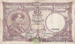 20 Belgian Francs banknote - Série Nationale obverse accepted for exchange