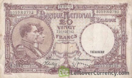 20 Belgian Francs banknote - Série Nationale obverse accepted for exchange