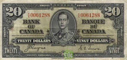 20 Canadian Dollars banknote series 1937 obverse accepted for exchange
