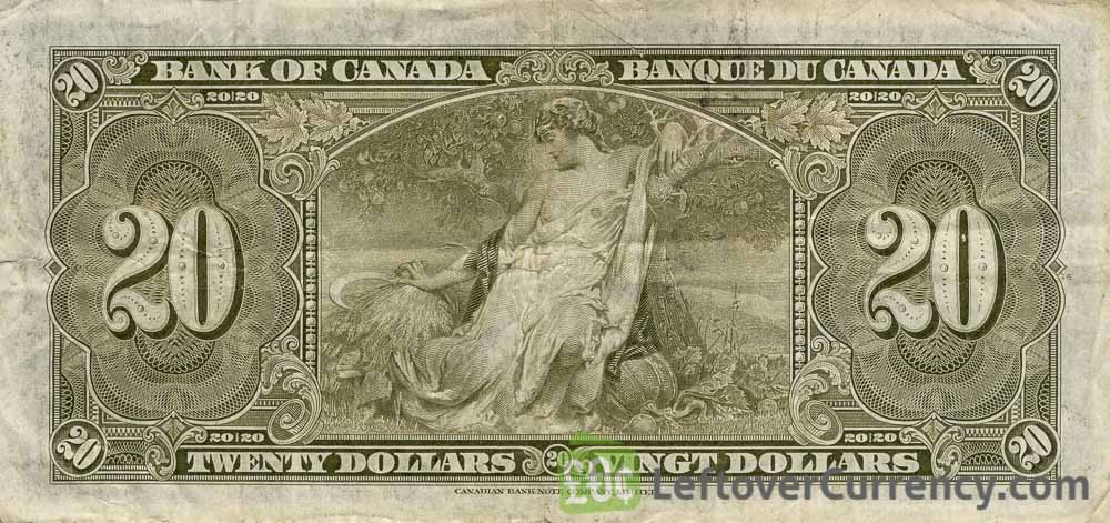20 Canadian Dollars banknote series 1937 reverse accepted for exchange
