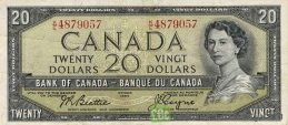 20 Canadian Dollars banknote series 1954 obverse accepted for exchange