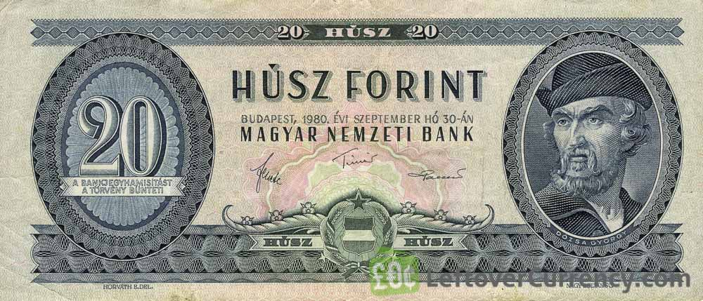 20 Hungarian Forints banknote Gyorgy Dozsa obverse