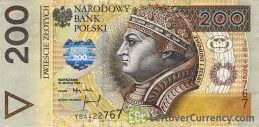 200 Polish Zloty banknote - King Zygmunt I obverse accepted for exchange