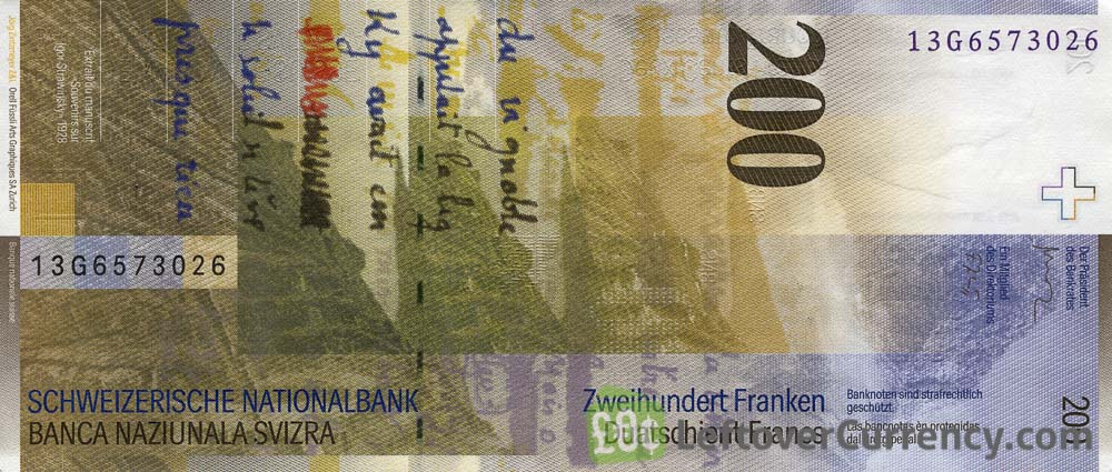 200 Swiss Francs banknote - Charles-Ferdinand Ramuz - 8th Series reverse accepted for exchange