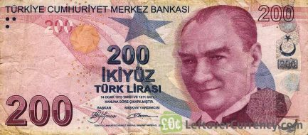 200 Turkish Lira banknote - 9th emission group (2009) obverse accepted for exchange